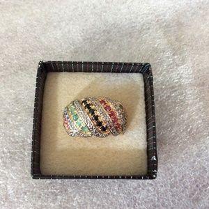 Jewelry - Silver 925 Emerald Diamond Sapphire & Ruby Ring